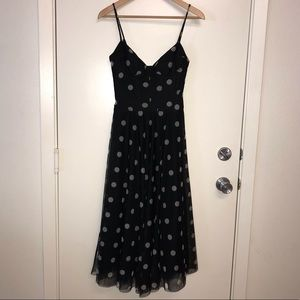 BCBG Maxazria Tulle Polka Dot Dress Black White